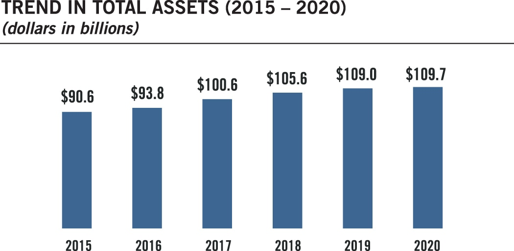 Bar chart summarizing the trend in total assets for fiscal years 2015 to 2020. Values are as follows: FY 2015: $90.6 billion. FY 2016: $93.8 billion. FY 2017: $100.6 billion. FY 2018: $105.6 billion. FY 2019: $109.0 billion. FY 2020: $109.7 billion.