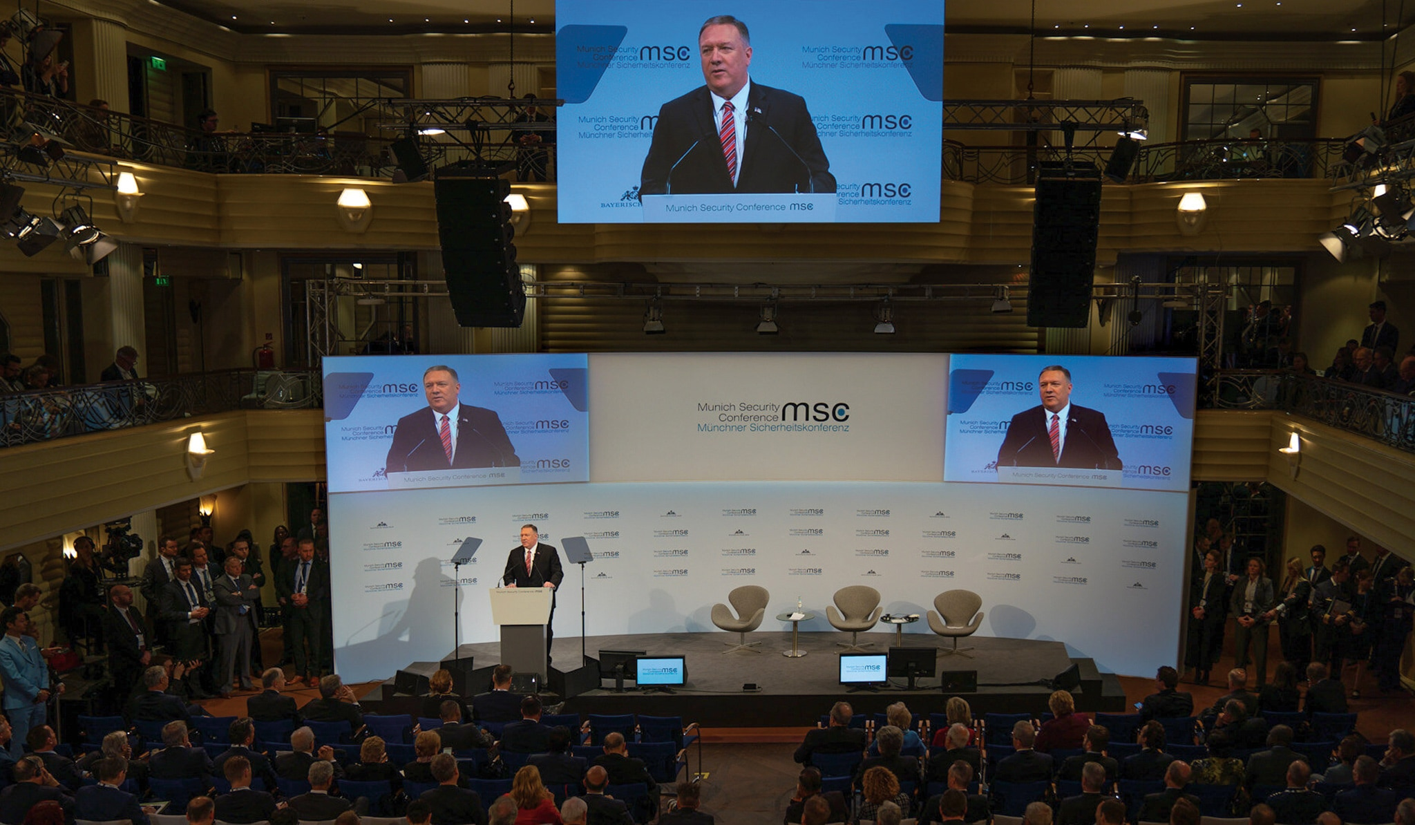 Photo showing Secretary Pompeo delivering keynote remarks at the Munich Security Conference in Munich, Germany, February 15, 2020. [Department of State]