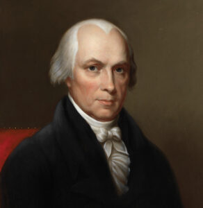 """Portrait of James Madison, also known as the """"Father of the Constitution"""" who was the fifth Secretary of State and the fourth President of the United States. [Department of State]"""