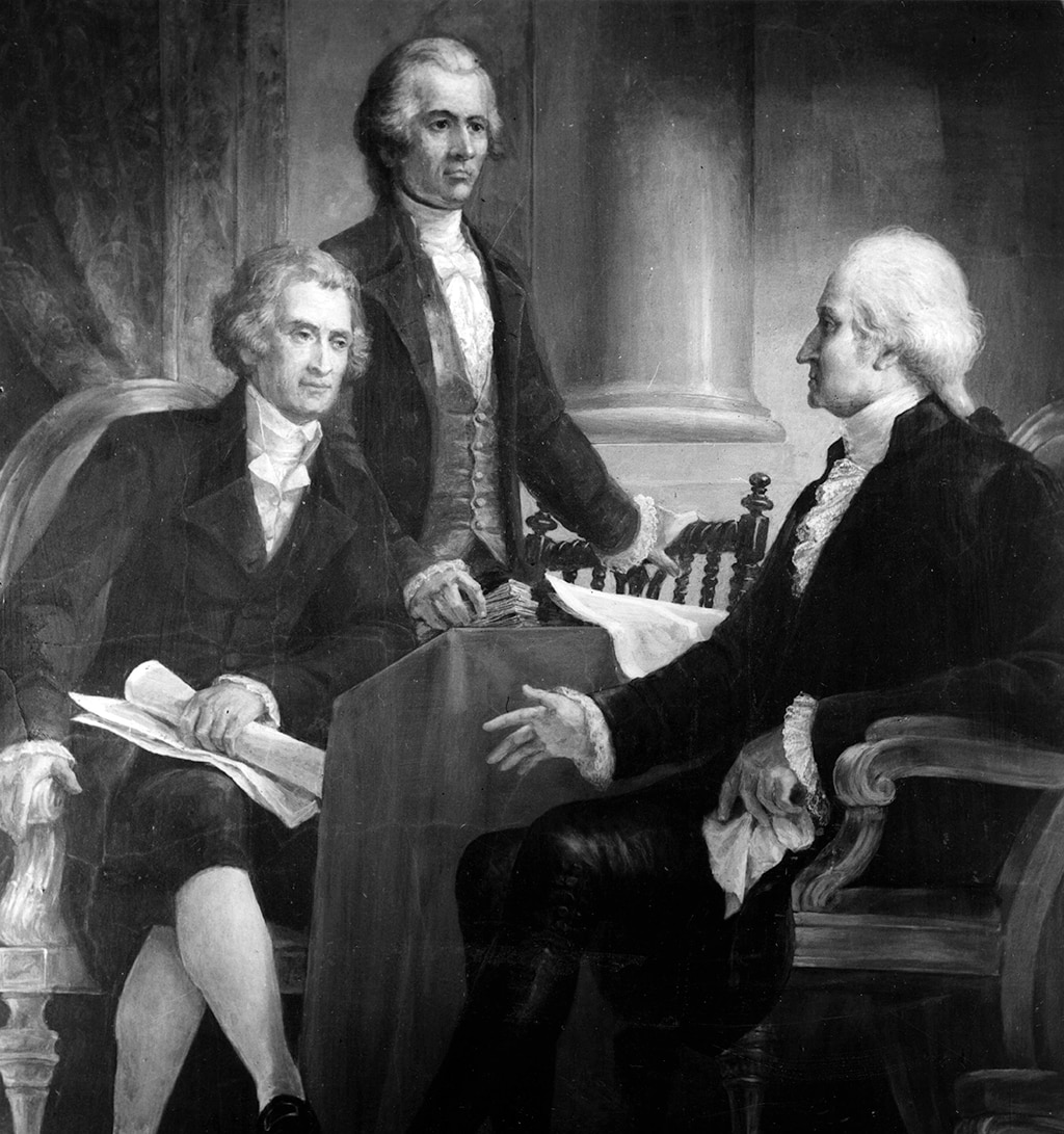 Painting showing U.S. President George Washington in consultation with his Secretary of State Thomas Jefferson and Secretary of the Treasury Alexander Hamilton. A painting by Constantino Brumidi, circa 1790. [Getty Images]