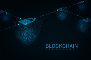 Abstract blockchain technology concept .Isometric digital blocks connection of data depicting a cryptocurrency blockchain. [shutterstock]