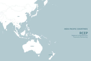 Indo-Pacific countries. RCEP countries vector map. [shutterstock]