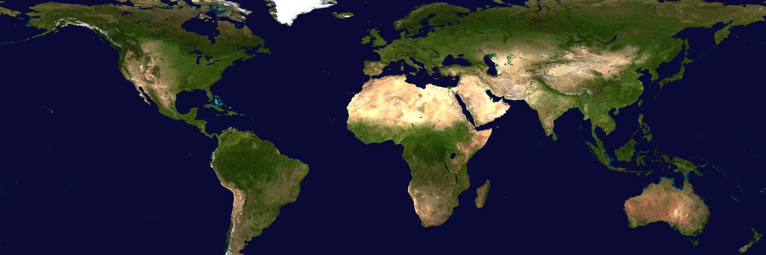 Complete Earth view from space. Digitally combined from a collection of satellite-based observations. From about 700km.