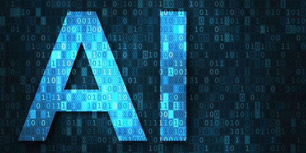 Artificial intelligence illustration with blue text AI over binary code matrix background. Abstract concept of cyber technology and automation [shutterstock]
