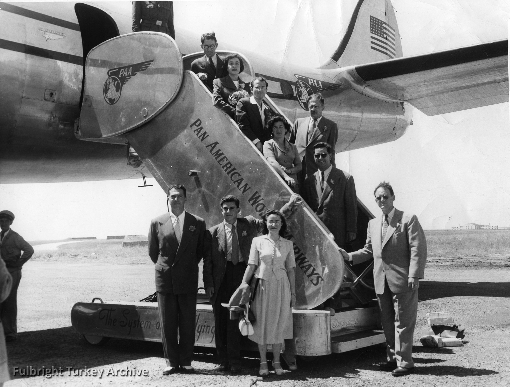 The first group of Fulbright student program participants from Turkey boarding the plane to start their studies/research in the USA in 1951. (Photo courtesy of Fulbright Turkey)