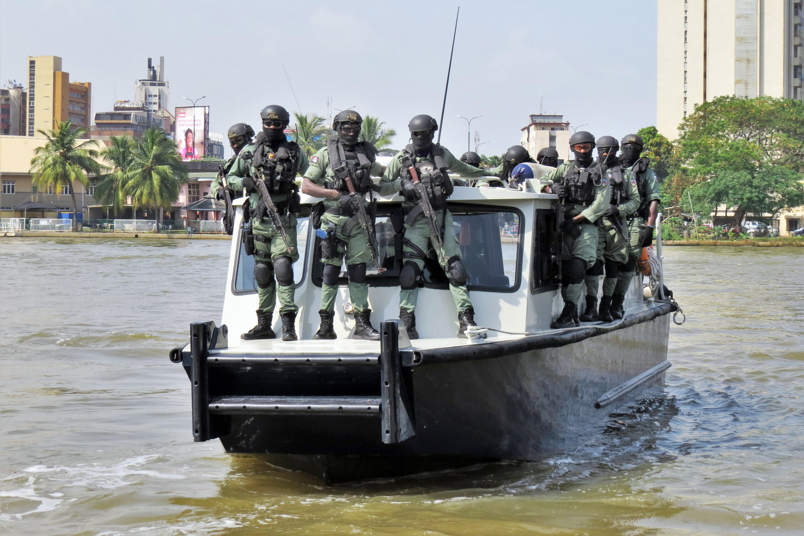 Nigerian police assigned to protect U.S. diplomatic facilities and personnel operate one of their patrol boats in the coastal city of Lagos in November 2020. The police are part of a Special Program for Embassy Augmentation Response (SPEAR) team. SPEAR teams are quick-response forces trained and funded by the Diplomatic Security Service's Office of Antiterrorism Assistance (ATA). (Department of State photo)