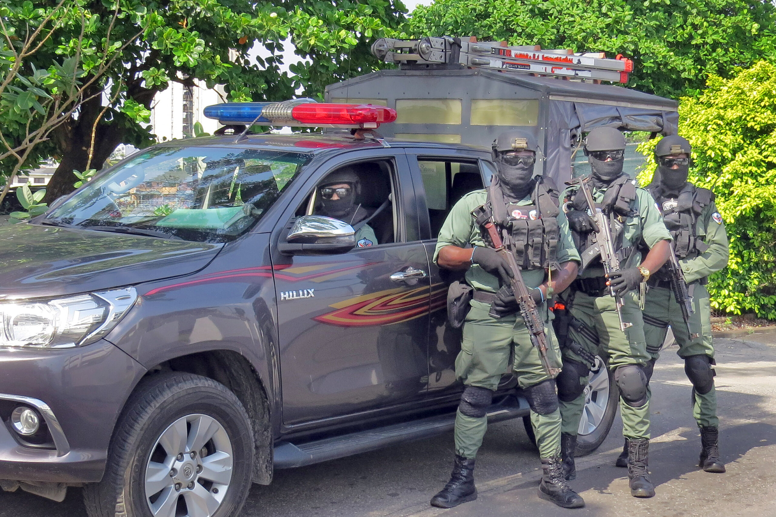 Nigerian police assigned to protect U.S. diplomatic facilities and personnel train with one of their vehicles in city of Lagos in November 2020. The police are part of a Special Program for Embassy Augmentation Response (SPEAR) team. SPEAR teams are quick-response forces trained and funded by the Diplomatic Security Service's Office of Antiterrorism Assistance (ATA). (Department of State photo)