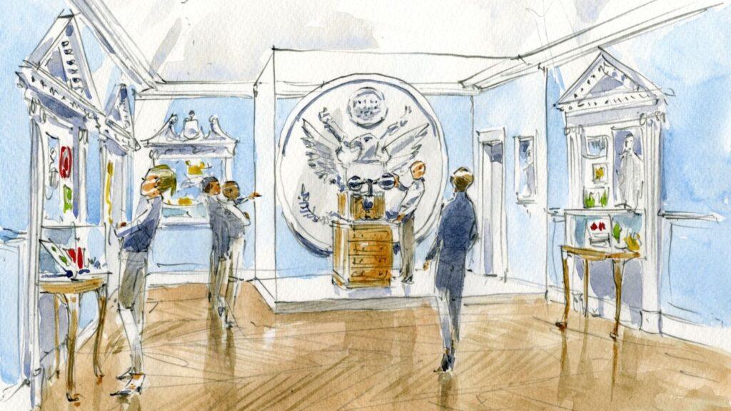 Artist Rendering of Revolutionary Diplomacy exhibit.