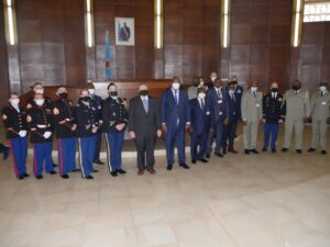 Ambassador Hammer and personnel from the Office of Security Cooperation and Marine Security Guard Detachment from Embassy Kinshasa, along with Minister of Defense Aime Ngoy Mukena and the members of the DRC government delegation. (Photo courtesy of U.S. Department of State)