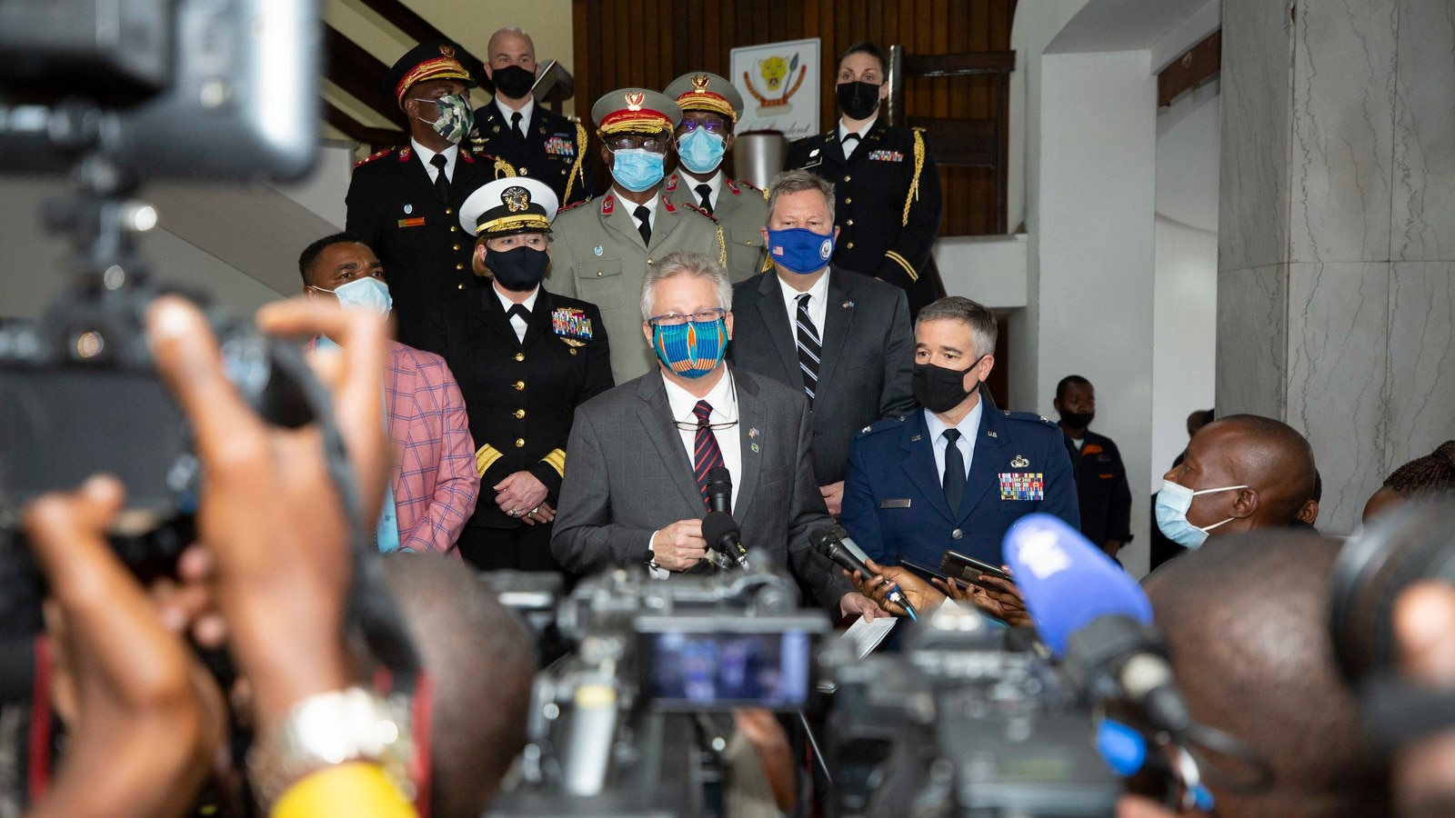 U.S. Africa Command's Deputy to the Commander for Civil-Military Engagement, Ambassador Andrew Young, and Director of Intelligence, Rear Adm. Heidi Berg visit the DRC in January 2021. (Photo courtesy of Embassy Kinshasa)