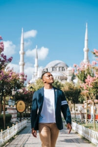 Kevin explores the Sultanahmet (Blue) Mosque in Istanbul, Turkey. (Photo courtesy of Kevin Moss)