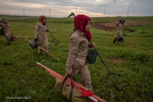 A U.S.-funded MAG demining team deploys to clear IEDs and landmines laid by ISIS in northern Iraq. (Photo courtesy of MAG)