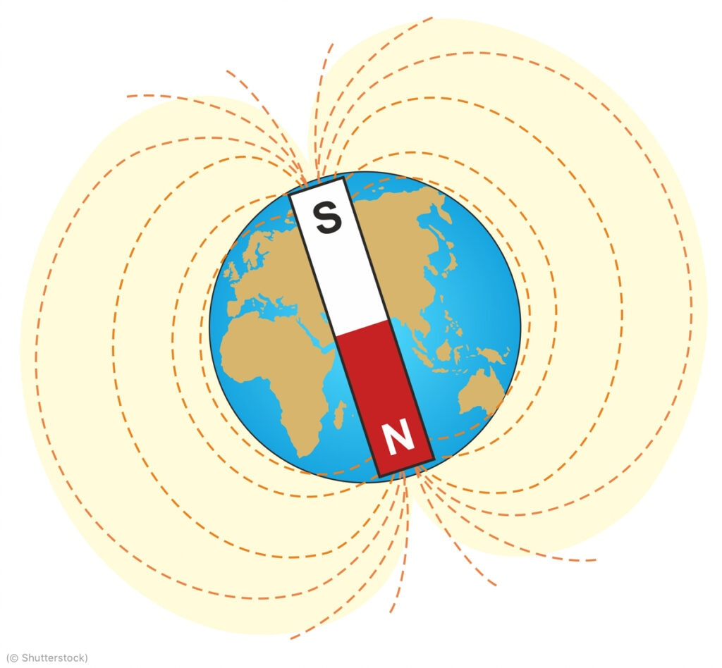 The geomagnetic field can be approximated by envisioning a bar magnet extending through the earth.