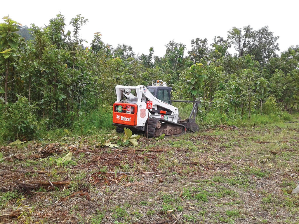 The Bearcat vegetation clearance tool is tested in Cambodia. [Photo courtesy of HD R&D]