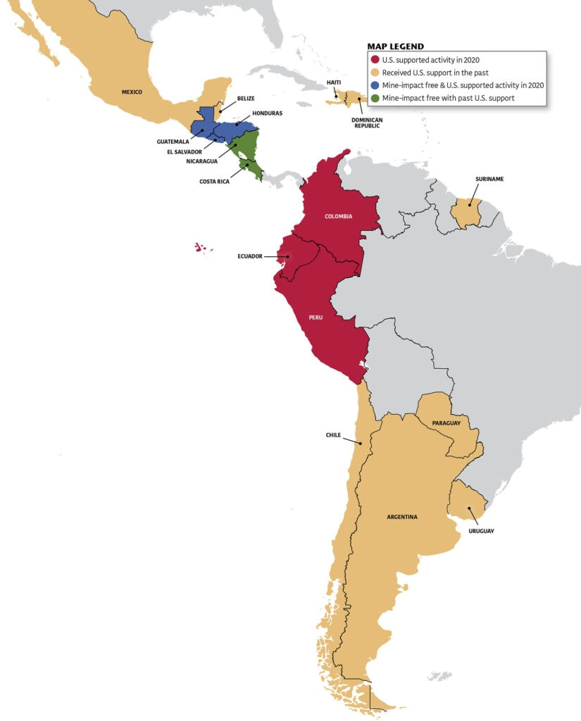 Map of Western Hemisphere, Legend: Red - U.S. supported activity in 2020; Yellow - Received U.S. support in the past; Blue - Mine-impact free & U.S. supported activity in 2020; Green - Mine-impact free with past U.S. support.