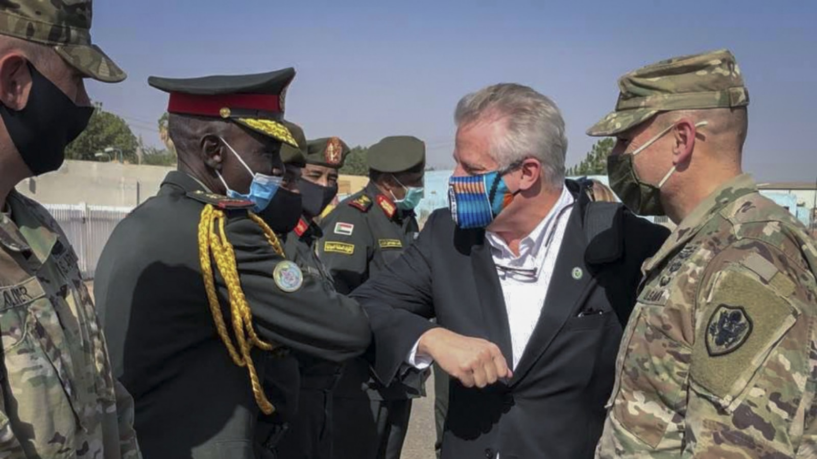 Ambassador Andrew Young, Deputy to the Commander for Civil-Military Engagement, is greeted upon arrival in Sudan. (Photo courtesy of AFRICOM)