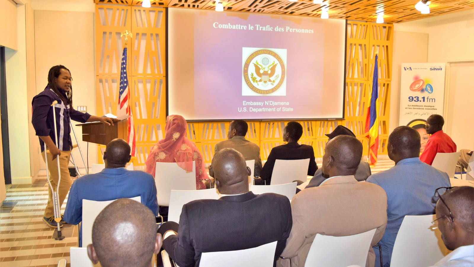 Djas Ratebaye gives a presentation on Trafficking in Persons for criminal and judicial police officers in Chad, N'Djamena. (Photo courtesy of Ali Kardas of the Public Affairs Section of U.S. Embassy N'Djamena)