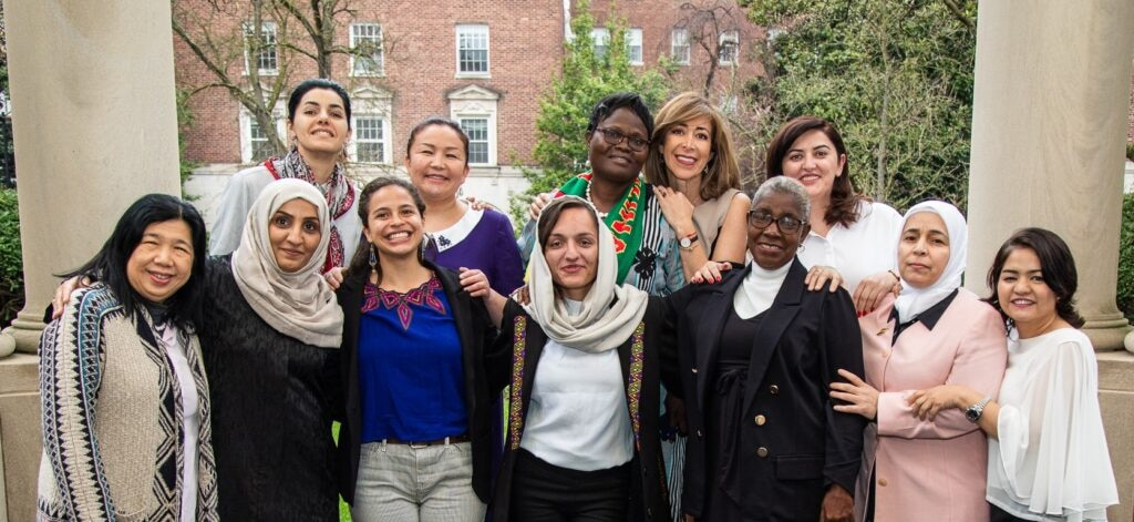 The 2020 International Women of Courage Award recipients prepare for their International Visitor Leadership Program. (Photo courtesy of the Bureau of Educational and Cultural Affairs)