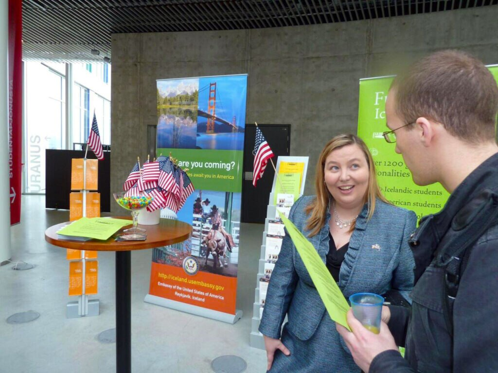 Helga Magnusdottir advises a prospective Icelandic student on studying in the United States. (Photo courtesy of Laura Gritz, U.S. Embassy Reykjavik, Former Public Affairs Officer)