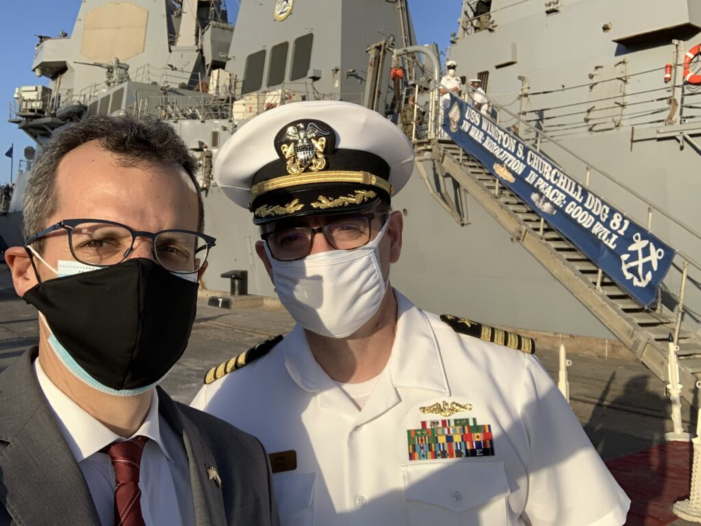 Foreign Policy Advisor Mark Schapiro (left) with Captain John Tully, head of U.S. Naval Forces Europe and Africa's Africa Engagement Directorate visit the USS Winston S. Churchill docked in Port Sudan. (State Department photo)