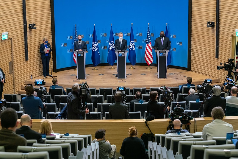 Secretary Blinken Holds a Press Availability with Secretary Austin and NATO Secretary General Stoltenberg