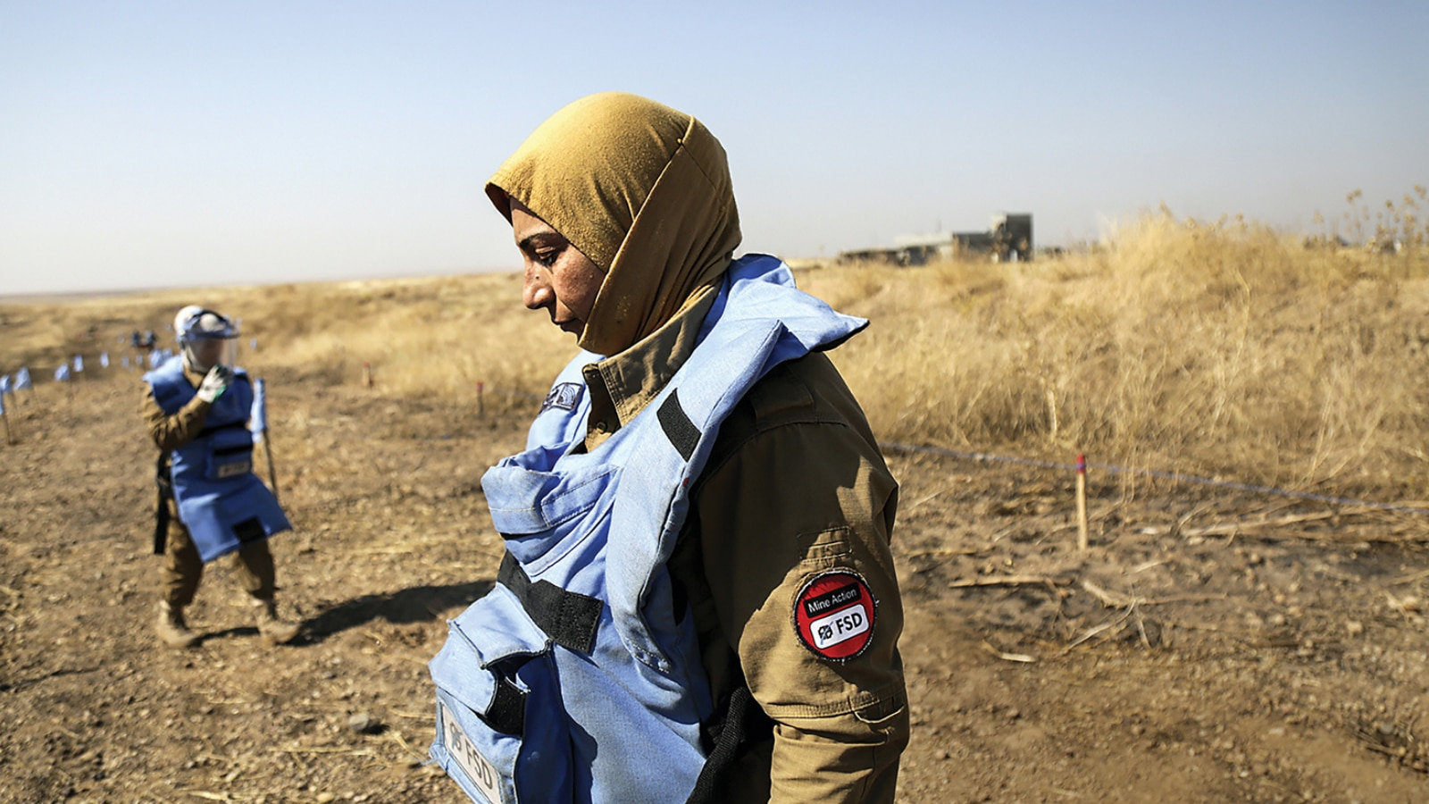 Unexploded ordnance (UXO) and improvise explosive device (IED) clearance is conducted between Mosul and Erbil, Iraq. (Photo courtesy of Swiss Foundation for Mine Action)