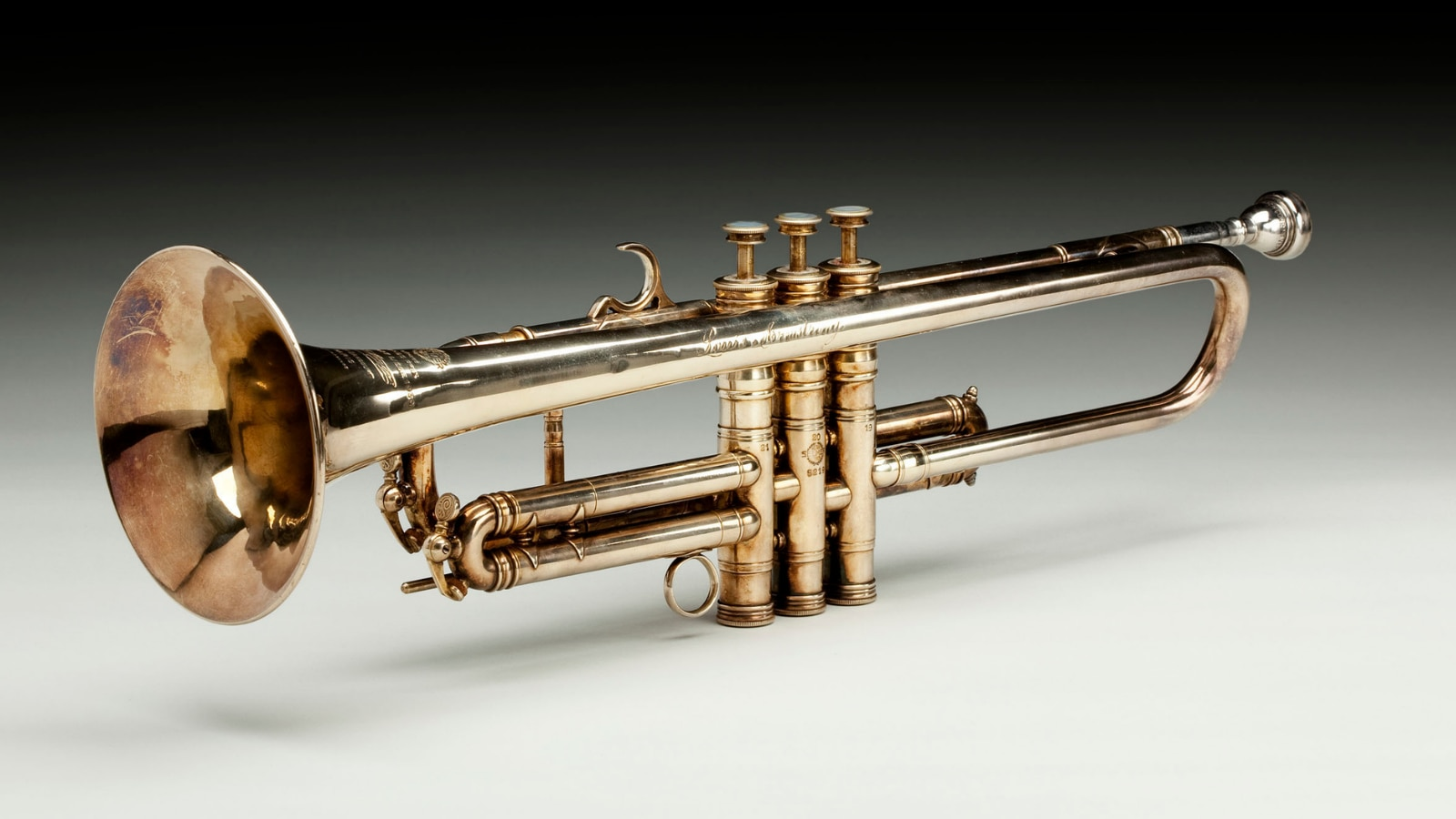 One-of-a-kind brass-and-gold trumpet owned and played by Louis Armstrong circa 1946, photographed on October 19, 2015. (Photo courtesy of the National Museum of African American History and Culture)