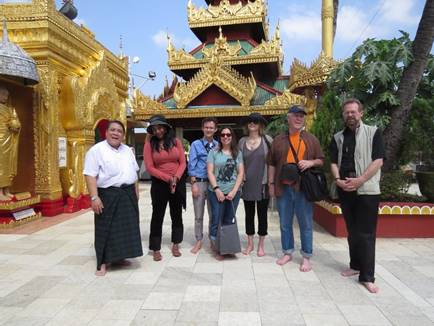 Author Christopher Merrill poses with a group of participants during the Lines and Spaces Creative Writing Workshop tour in Burma. (Photo courtesy of the International Writers Program)