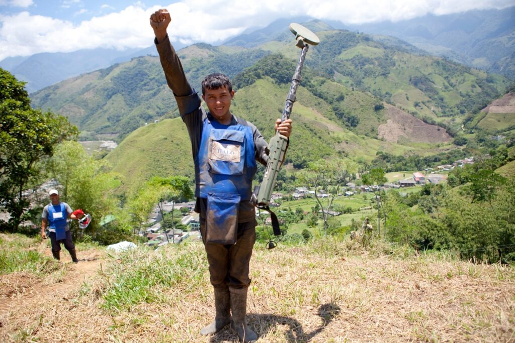 In 2013, Jorge Daza became the first civilian deminer to find a landmine in Colombia. La Unión and Nariño were the first municipalities cleared by a civilian humanitarian demining organization. (Photo courtesy of The HALO Trust)