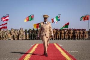 Female solider from Senegal walking