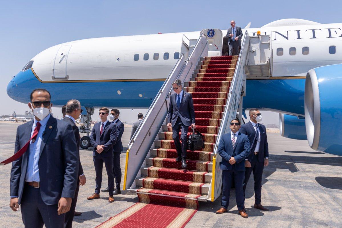 Secretary Blinken arrives in Cairo, Egypt.
