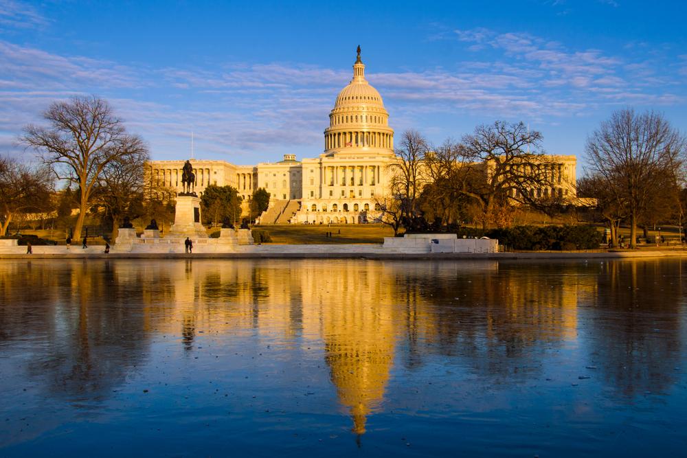 Unites,States,Capitol,At,Sunset