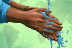 Illustration of hands under stream of water