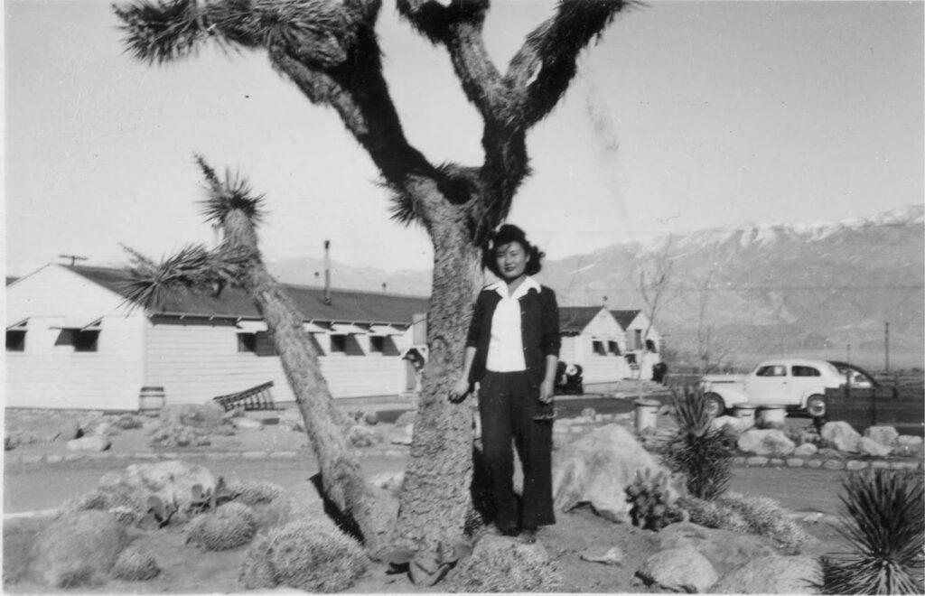 Bryan's grandmother at Manzanar War Relocation Center in 1942 in Manzanar Reward Rd, California. (Photo courtesy of the author)