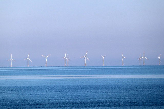 Coastal renewable energy, like this offshore wind farm, contributes to the blue economy while helping to mitigate climate change.