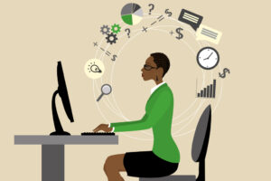 Cartoon of a business woman working on her computer