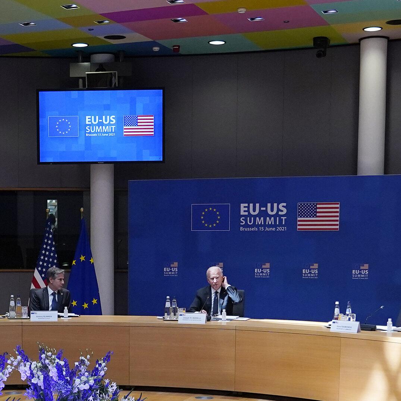 President Joe Biden speaks while attending the United States-European Union Summit at the European Council in Brussels, Tuesday, June 15, 2021, as Secretary of State Antony Blinken looks on. (AP Photo/Patrick Semansky)