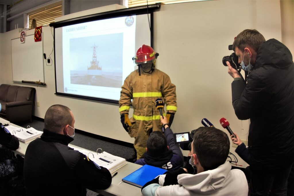 Ukrainian sailors participate in classroom training taught by USCG instructors. (State Department photo)