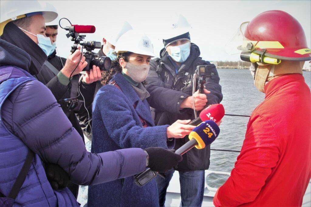 Ukrainian media interview Ukrainian sailors on the deck of the Sumy. (State Department photo)