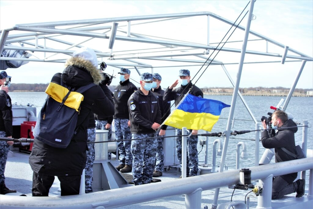 Ukrainian sailors hold a flag-raising ceremony on the deck of the Sumy, in the Port of Baltimore. (State Department photo)