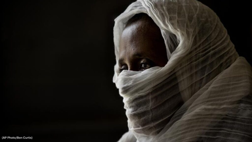 A 40-year old woman survivor of rape by Eritrean forces being interviewed at a hospital in the Tigray region of Ethiopia. (Photo: Ben Curtis/Associated Press)