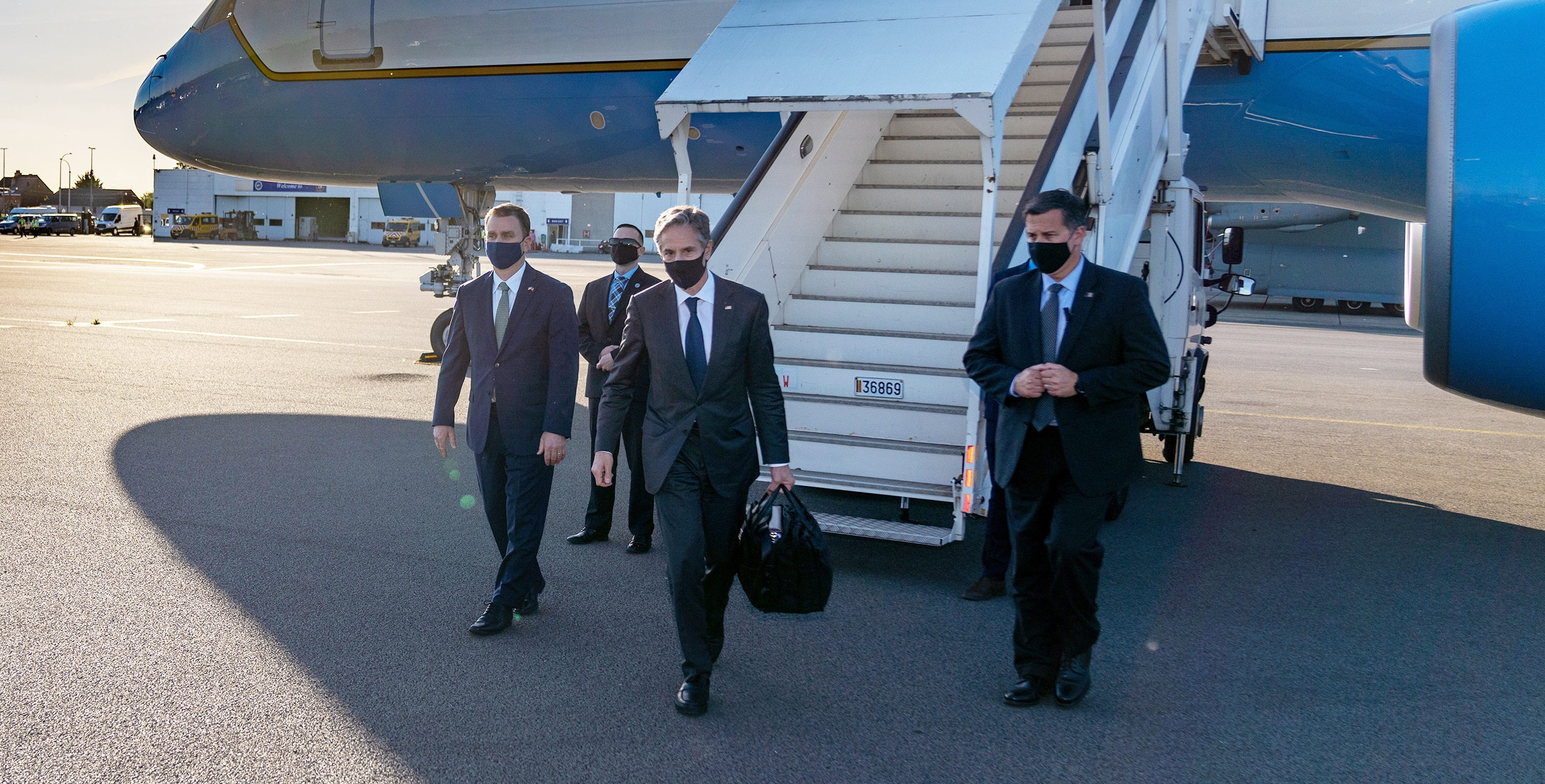 Secretary of State Antony J. Blinken arrives in Brussels, Belgium, on June 12, 2021. [State Department photo by Ron Przysucha/ Public Domain]
