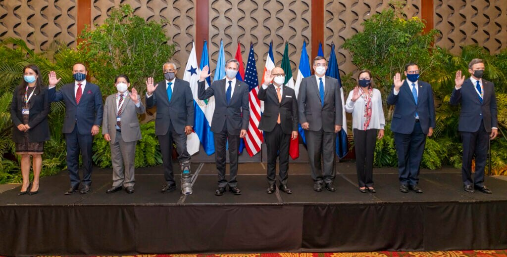 U.S. Secretary of State Antony Blinken with the foreign ministers of Mexico and Central American Integration System (SICA) member states on Tuesday, June 1, 2021, in San Jose, Costa Rica.