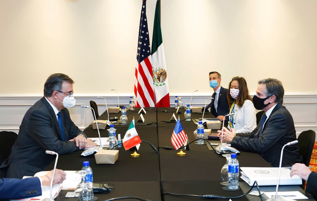 Secretary of State Antony J. Blinken meets with Mexico's Foreign Minister Marcelo Ebrard, in San Jose, Costa Rica, Wednesday, June 2, 2021. (Evelyn Hockstein/Pool via AP)