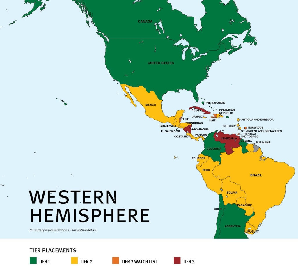 2021 Trafficking in Persons Regional Map: Western Hemisphere – Tier Placements: Tier 1 (green), Tier 2 (yellow), Tier 2 Watch List (orange), Tier 3 (red). Boundary representation is not authoritative.
