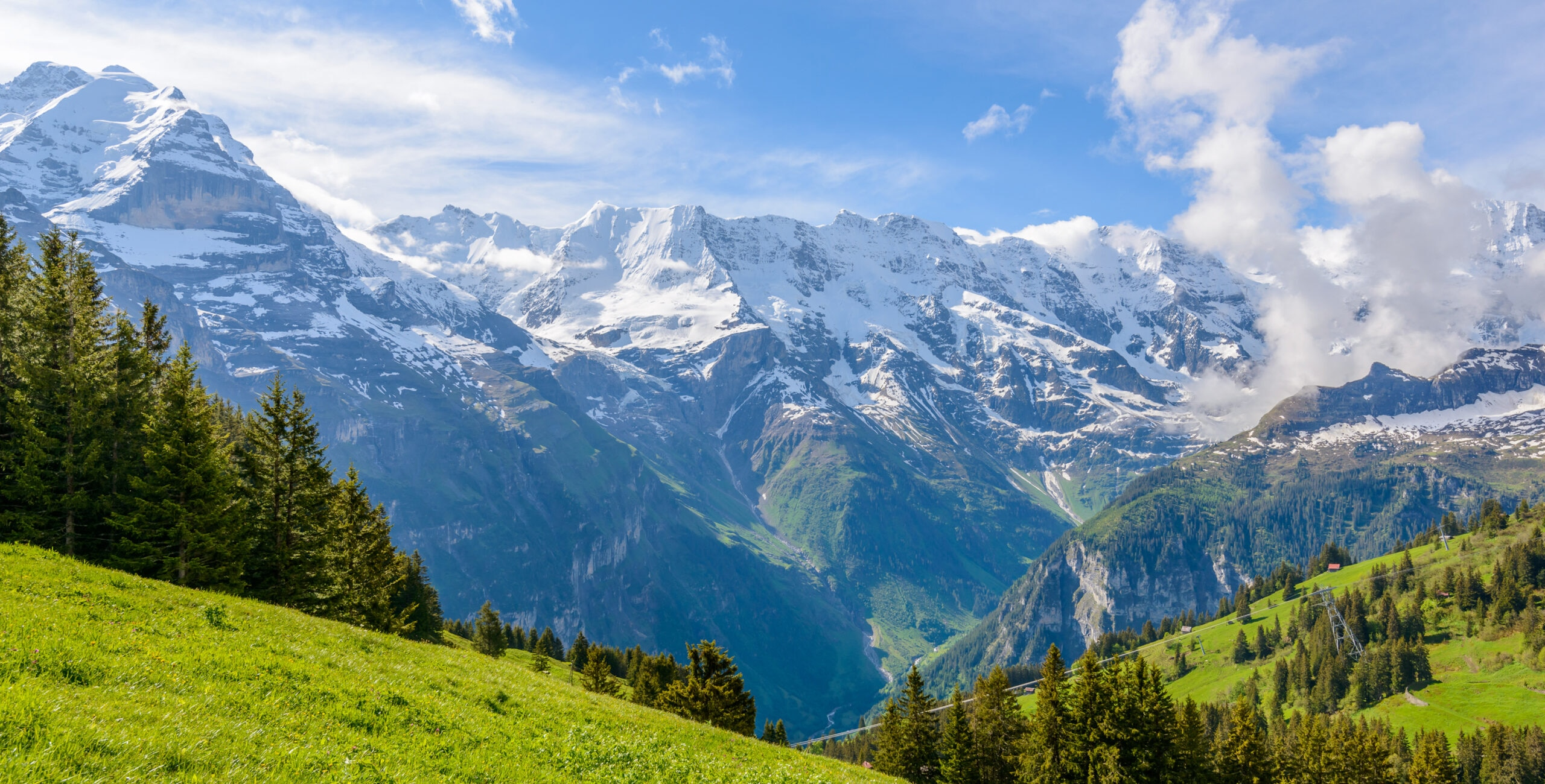 View of beautiful landscape in the Alps with fresh green meadows and snow-capped mountain tops in the background on a sunny day with blue sky and clouds in springtime. [Shutterstock image]