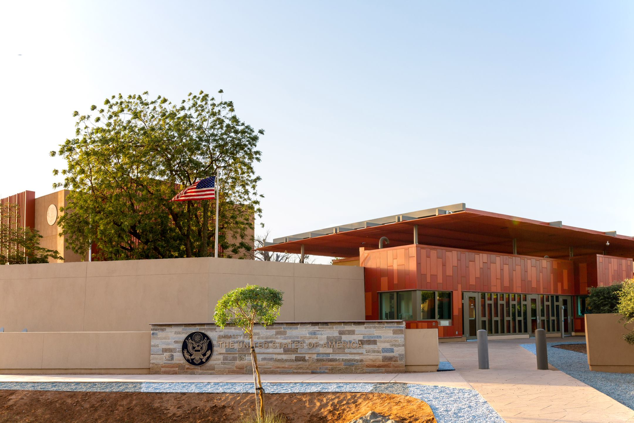 The American flag flies above the new U.S. embassy building in Niger
