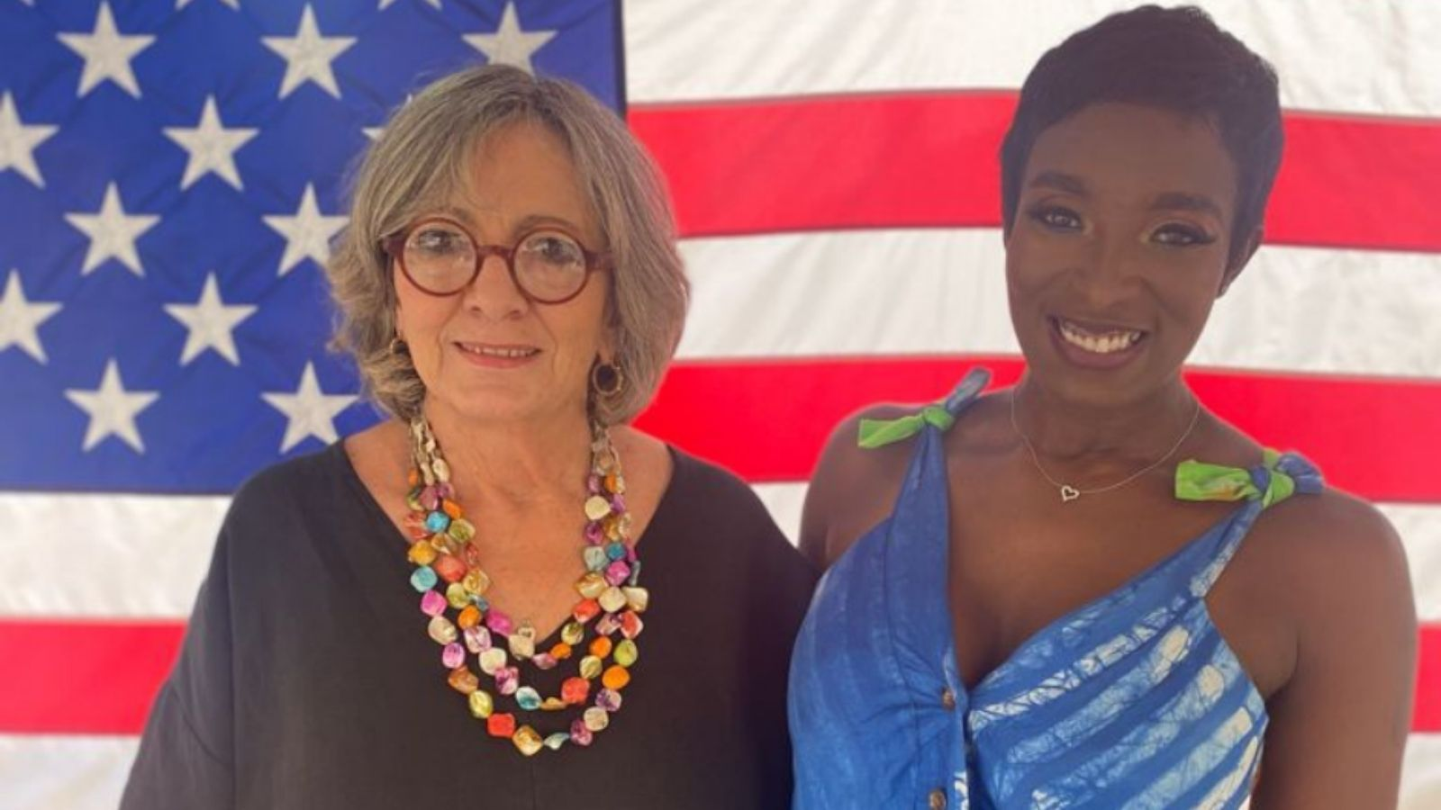 Ambassador to Barbados, the Eastern Caribbean and the OECS Linda Taglialatela and Barbadian singer Nikita pose for a photo before a live concert for Carribean American Heritage Month.