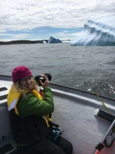 2015 Fulbright U.S. Scholar to Canada Itty Neuhaus-Schuck photographs an iceberg on the Labrador Sea. Neuhaus-Schuck, theAssociate Professor of Artat the State University of New York at New Paltz, traveled to Memorial University of Newfoundland as part of the Fulbright Arctic Initiative.