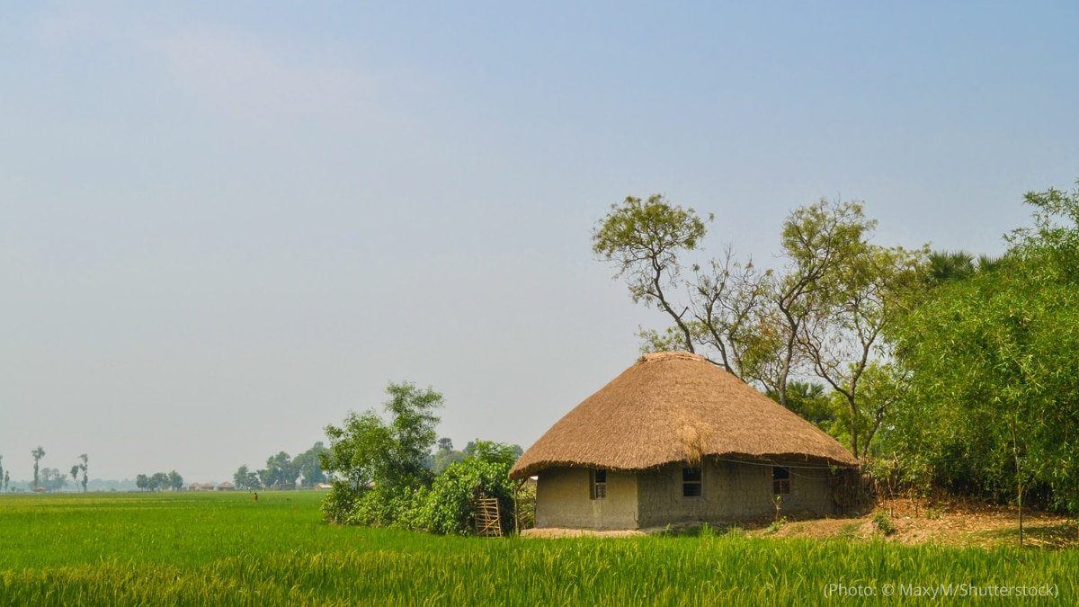 A village in India is pictured.